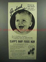 1944 Clapp's Baby Food Ad - Go Ahead Mommy