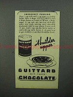 1944 Guittard Chocolate Ad - Emergency Pudding