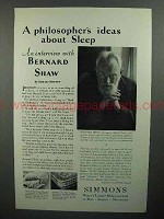 1929 Simmons Mattresses Ad w/ George Bernard Shaw