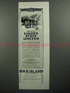 1930 Rock Island Railroad Ad - Golden State Limited