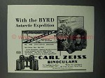 1930 Zeiss Binoculars Ad - Byrd Antarctic Expedition