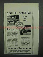 1930 Furness Prince Line Cruise Ad - South America Every Two Weeks