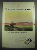 1931 Chesterfield Cigarettes Ad - Ridden Western Plains