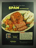 1945 Hormel SPAM Ad - Texas Style Barbecue