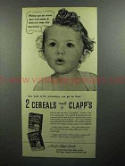 1945 Clapp's Baby Food Ad - 2 Cereals