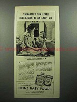 1945 Heinz Baby Food Ad - Youngsters Learn Orderliness