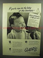 1946 Clapp's Baby Food Ad - You're New As The Baby