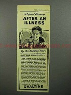 1946 Ovaltine Drink Ad - Speed Recovery After Illness