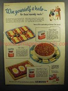 1947 Armour Ad - Treet, Chili con carne, Hash