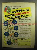1947 Postum Drink Ad - Exciting Grow-Rule