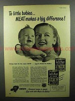 1948 Swift's Meats Baby Food Ad - Makes Big Difference
