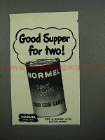 1952 Hormel Chili Con Carne Ad - Supper for Two