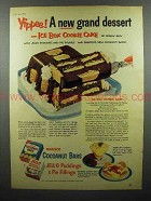 1953 Jell-O Pudding, Nabisco Cocoanut Bars Ad