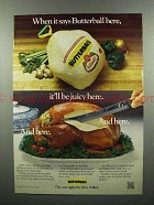 1977 Butterball Turkey Ad - It'll Be Juicy Here