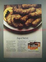 1986 Hormel New Traditions Sausages Ad - Zap n' Serve