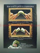 1988 Claussen Pickle Ad - How to Tell a Masterpiece