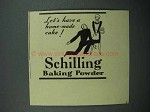 1937 Schilling Baking Powder Ad - Home-Made Cake