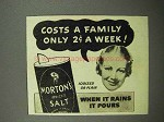 1938 Morton's Iodized Salt Ad - Costs 2¢ a Week