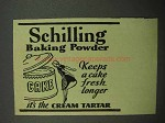 1938 Schilling Baking Powder Ad - Keeps Cake Fresh