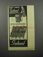 1944 Suchard Chocolate Ad - Don't Forget Chocolats