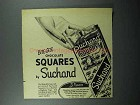 1948 Suchard Chocolate Ad - Bite-Size Squares