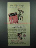 1940 Ralston Cereal Ad - an A-1 Day With Vitamin B-1