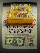 1992 Nabisco Shredded Wheat Cereal Ad - 100th Birthday