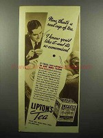 1936 Lipton's Tea Ad - Now That's A Real Cup