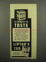 1937 Lipton's Tea Ad - A Tribute to Taste