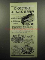1936 Kraft Velveeta Cheese Ad - Digestible as Milk