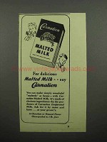 1945 Carnation Malted Milk Ad - Delicious