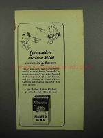1945 Carnation Malted Milk Ad - Comes in 2 Flavors