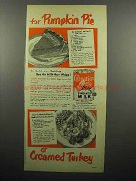 1950 Carnation Evaporated Milk Ad - Pumpkin Pie, Turkey