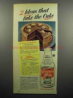 1951 Carnation Evaporated Milk Ad - Make The Cake