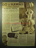 1935 Libby's Pineapple Ad - Go To Hawaii