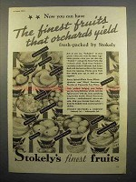 1936 Stokely's Fruit Ad - Finest That Orchards Yield
