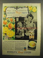 1938 Stokely's Fruit Ad - America's Prize Fruits