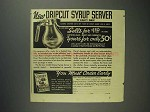 1937 Sperry Pancake and Waffle Flour Ad - Syrup Server