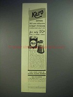 1939 Karo Syrup Ad - Attractive Syrup Pitcher