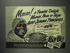 1946 Aunt Jemima Pancake Mix Ad - A Feastin' Delight