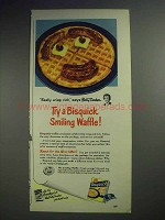 1950 Betty Crocker Bisquick Ad - Try Smiling Waffle