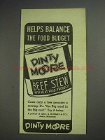 1939 Dinty Moore Beef Stew Ad - Balance the Food Budget