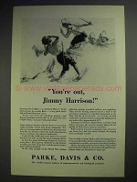 1929 Parke, Davis & Co. Pharmaceutical Ad - You're Out!