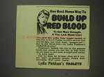 1944 Lydia Pinkham's Tablets Ad - Build up Red Blood!