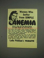 1944 Lydia Pinkham's Tablets Ad - Suffer from Anemia