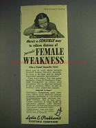 1945 Lydia E. Pinkham's Compound Ad - Female Weakness