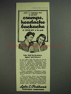 1945 Lydia E. Pinkham's Compound Ad - Cramps, Headache