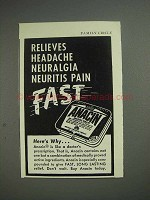1951 Anacin Tablets Ad - Relieves Headache Pain Fast