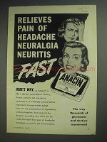 1953 Anacin Tablets Ad - Relieves Pain of Headache Fast