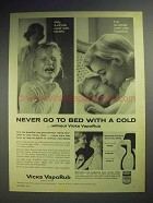 1960 Vicks VapoRub Ad - Never Go To Bed With A Cold